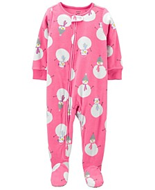 Baby Girl 1-Piece Snowman Fleece Footie PJs