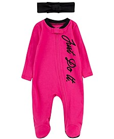 Baby Girls Full-Zip Footed Coverall and Headband Set