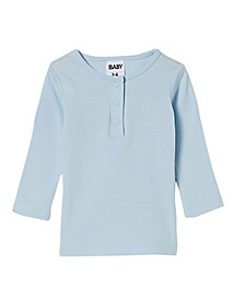 Baby Girls Aiden Long Sleeve Placket Top