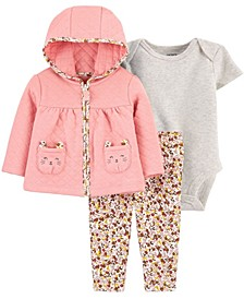 Baby Girl  3-Piece Quilted Little Cardigan Set