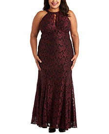 Plus Size Glitter Lace Gown