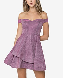 Juniors' Sherry Shine Off-The-Shoulder A-Line Dress