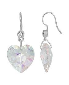 Women's Silverstone Austrian Crystal Glass Heart Wire Earrings