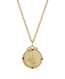Women's Gold Tone July Flower of the Month Larkspur Necklace
