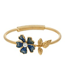 Women's Gold Tone Blue Enamel Flower and Crystal Accent Spring Hinge Cuff Bracelet