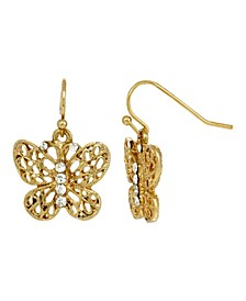 Women's Gold Tone Crystal Accent Filigree Butterfly Drop Earrings