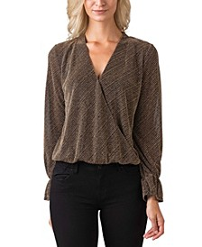Black Label Women's Plus Size Metallic Long Sleeve Wrap Front Knit Top