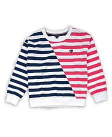 Big Girl Stripe Crewneck with Heart Flag Patch Sweatshirt