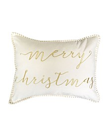 "Mandee Merry Christmas Metallic Embroidered Mandee Velvet Pillow, 18"" x 14"""