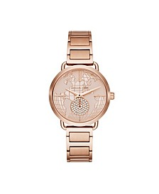 Women's Portia Two-Hand Rose Gold-Tone Bracelet Watch 37mm