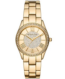 Women's Heather Three-Hand Gold-Tone Alloy Bracelet Watch 34mm