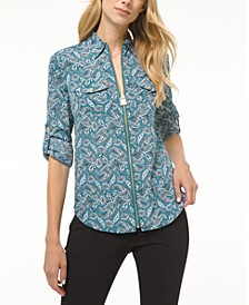 Plus Size Arabesque Paisley-Print Shirt