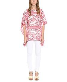 Printed Kimono-Sleeve Top
