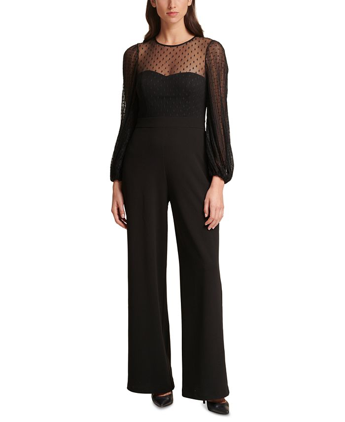 Eliza J - Dotted Illusion-Top Jumpsuit