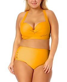 California Waves Trendy Plus Size Underwire Bikini Top & Cutout High-Waist Bikini Bottoms