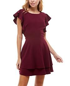 Juniors' Ruffle-Sleeve Fit & Flare Dress