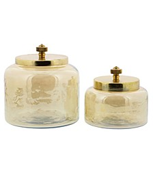 Round Iridescent Glass Jars with Complimenting Metal Lid, Set of 2