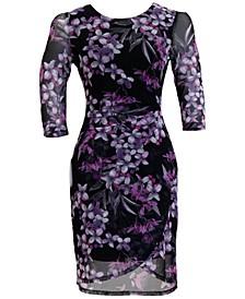 Petite 3/4-Sleeve Chiffon-Overlay Sheath Dress