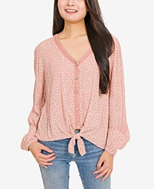 Juniors' Printed Lace-Trimmed Tie-Hem Blouse