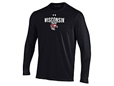 Wisconsin Badgers Men's Logo Stacked Performance Long Sleeve T-Shirt