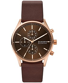 Men's Chronograph Holst Brown Leather Watch 42mm