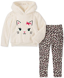 Baby Girls 2-Pc. Kitty Hoodie and Leopard-Print Legging Set