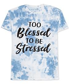 Juniors Graphic Print Tie-Dyed Cotton T-Shirt