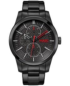 Men's #REAL Black Stainless Steel Bracelet Watch 46mm