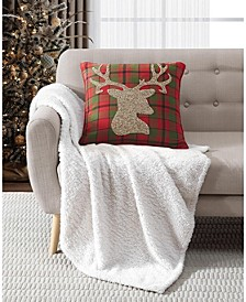"LAST ACT! 20"" x 20"" Reindeer Plaid Decorative Pillow"