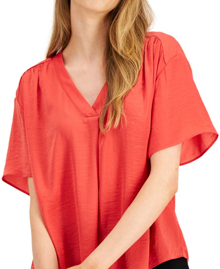 Alfani Petite V-Neck Top, Created for Macy's & Reviews - Tops - Petites - Macy's