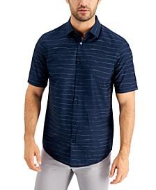 Men's Stretch Wave Stripe-Print Poplin Shirt, Created for Macy's