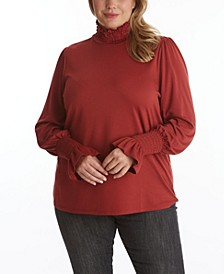 Women's Plus Size Long Sleeve Fitted Turtle Neck Top with Lettuce Edge Detail