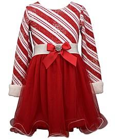 Toddler Girls Foiled Candy Cane Bias Stripe Dress