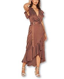 Women's Polka Dot D-Ring Wrap Midi Dress