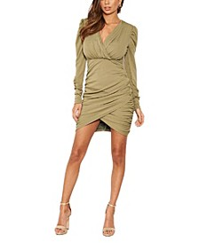 Women's Long Puff Sleeved Ruched Wrap Dress