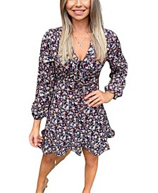 Women's Floral Tie Up Frill Dress