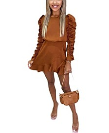 Women's Ruched Sleeve Skater Dress