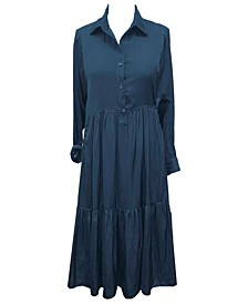 Plus Size Tiered Collared Shirtdress