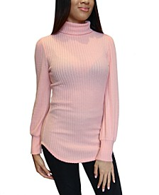 Juniors Balloon-Sleeve Turtleneck Top