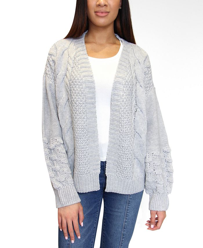 Crave Fame - Juniors' Mixed-Knit Bubble-Sleeve Cardigan
