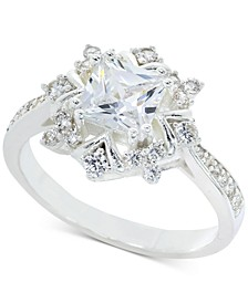 Silver-Tone Pavé & Square-Crystal Snowflake Ring, Created for Macy's