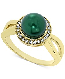 Gold Plate Pavé & Imitation Pearl Halo Split Ring, Created for Macy's