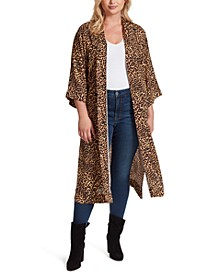 Trendy Plus Size Mixed-Print Open-Front Duster