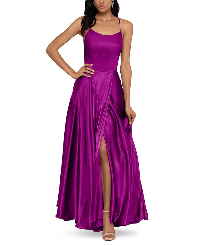 Betsy & Adam - Satin Strappy-Back Gown