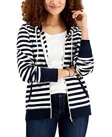 Striped Zip-Front Hoodie
