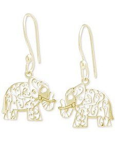 Filigree Elephant Drop Earrings, Created for Macy's
