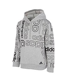 Big Boys Long Sleeve Grid Print Hooded Pullover