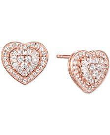 Diamond Baguette Heart Stud Earrings (1/2 ct. t.w.) in 14k Gold , 14k White Gold or 14k Rose Gold