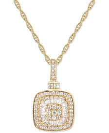 "Diamond Baguette Square Cluster 18"" Pendant Necklace (1/2 ct. t.w.) in 14k Gold ,14k White Gold or 14k Rose Gold"