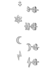 4-Pc. Set Cubic Zirconia Stud Earrings in Sterling Silver, Created for Macy's